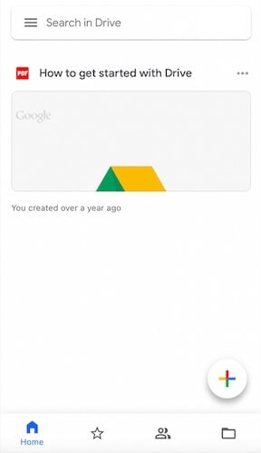 Tap the + symbol to upload photos to Google Drive