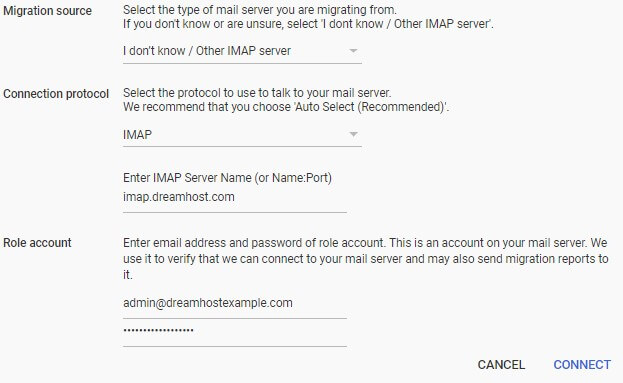 transfer email to g suite