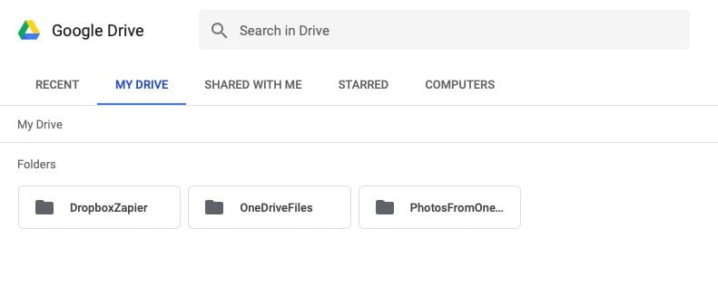 Select My Drive and the relevant folder