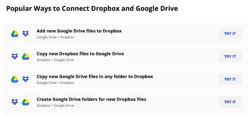 Sync Dropbox and Google Drive Using Zapier