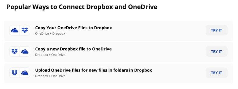 Using Zapier to sync Dropbox to OneDrive