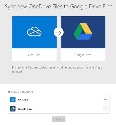 Sync new OneDrive Files to Google Drive Files Flow