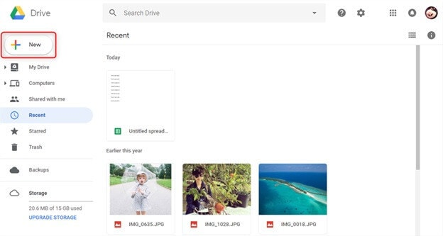 Google drive upload file
