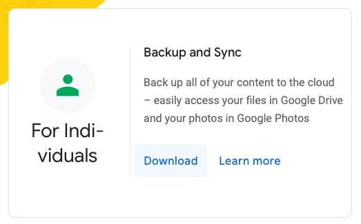 Download Backup & Sync app from Google