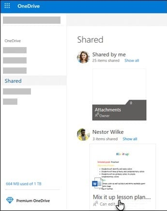 Shared folder onedrive