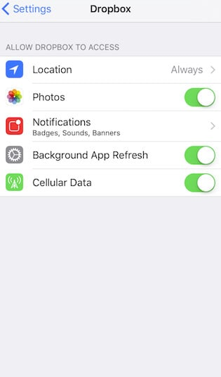 switch on location access for dropbox