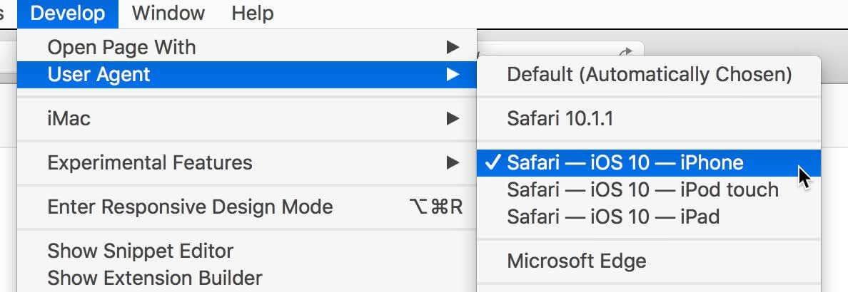 safari user agent switch