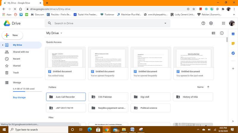 Open Google drive primary account