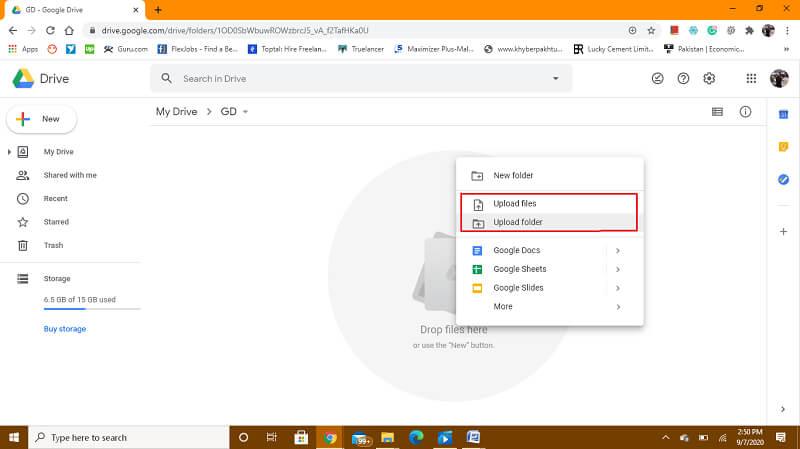 upload files/folders in new drive accoount folder