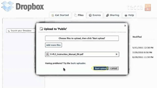 Dropbox upload public
