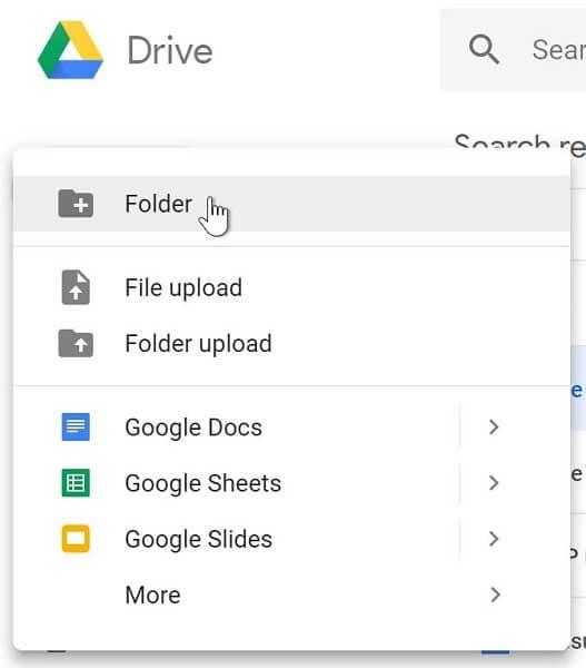 Make a new folder in drive