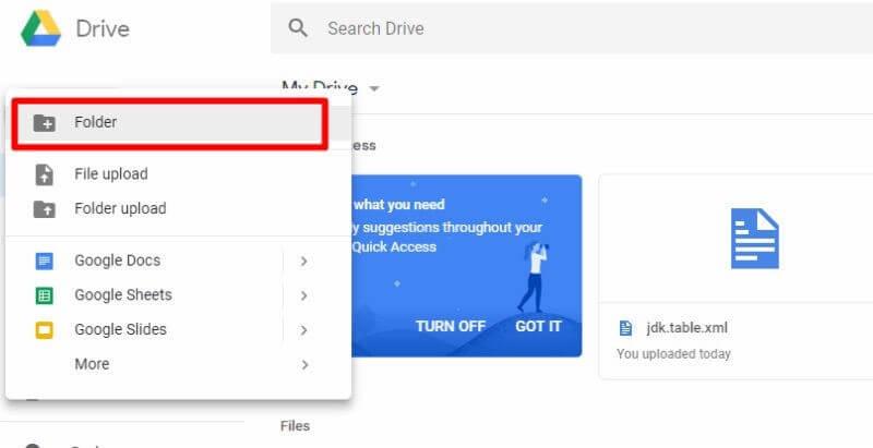 Click folder for google drive