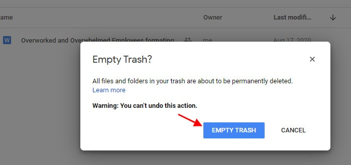 Choose empty trash