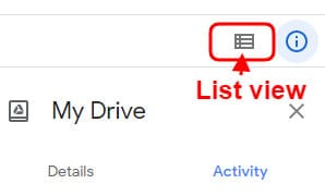 show list view in drive