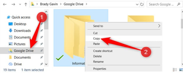 open the google drive folder, right-click on the folder you need to copy, and select copy