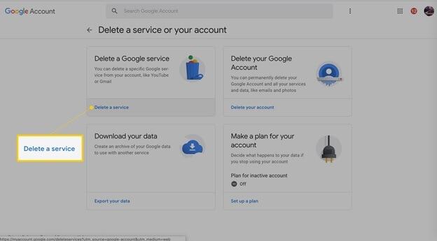 Delete account data