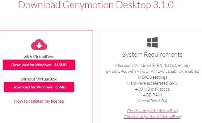 download genymotion for your pc