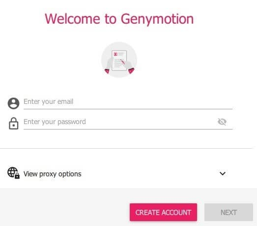 create a account for genymotion