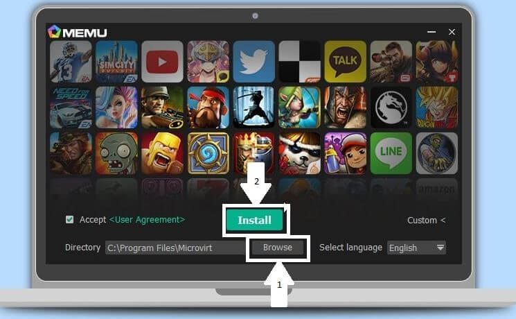 install the memu player after selecting directory