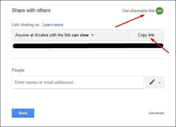 Copy the Google Doc link