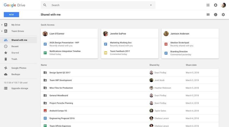 google drive shared documents