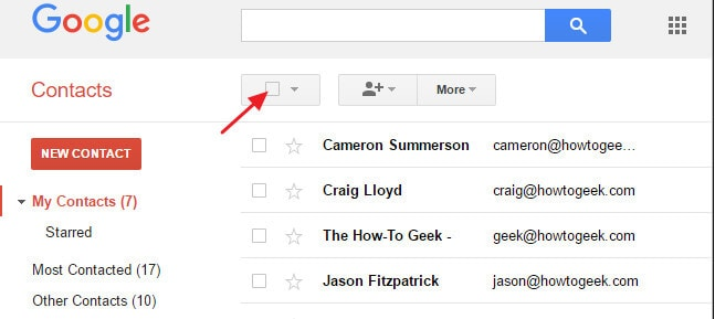 open google contact tab and click select
