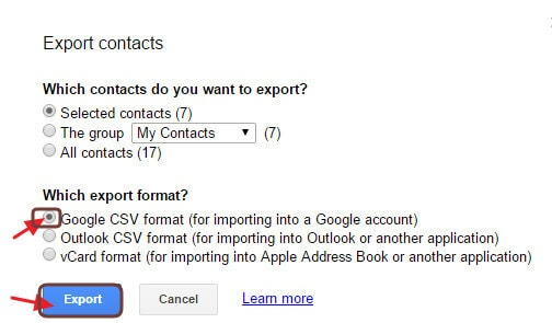 selecciona los contactos y exportar