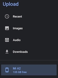 Select Internal Storage in Google Drive
