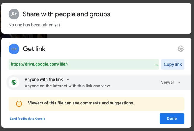 Share Link in Google Drive
