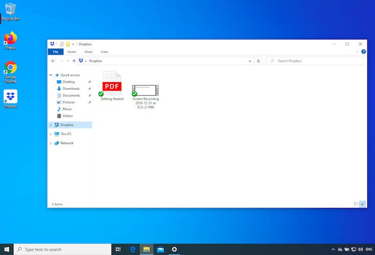 Dropbox integrated with File Explorer after successful setup in Windows 10