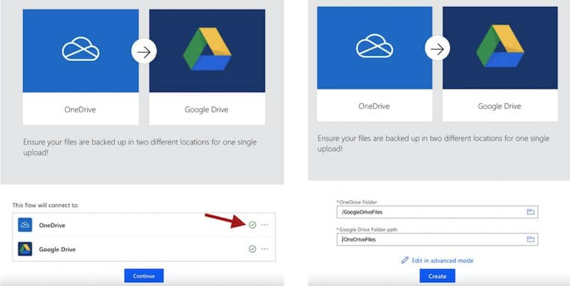 link onedrive and google drive accounts