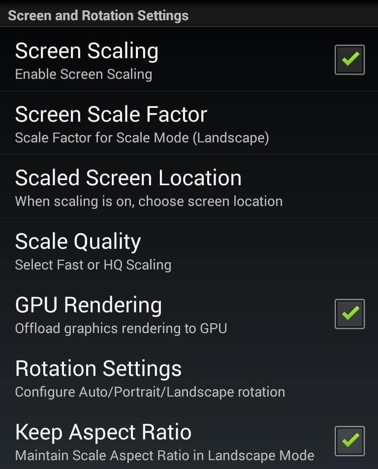 enable the option of screen scaling