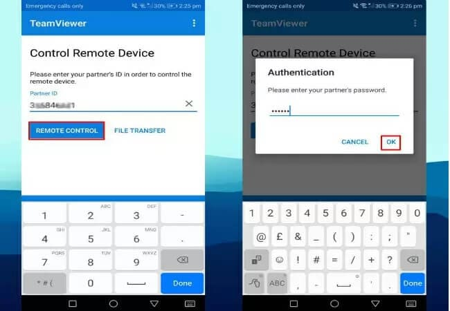 insert your pc id and password on phone