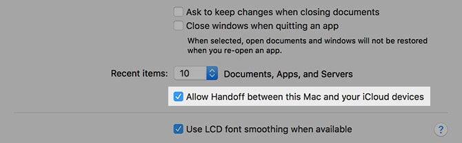 enable handoff mac