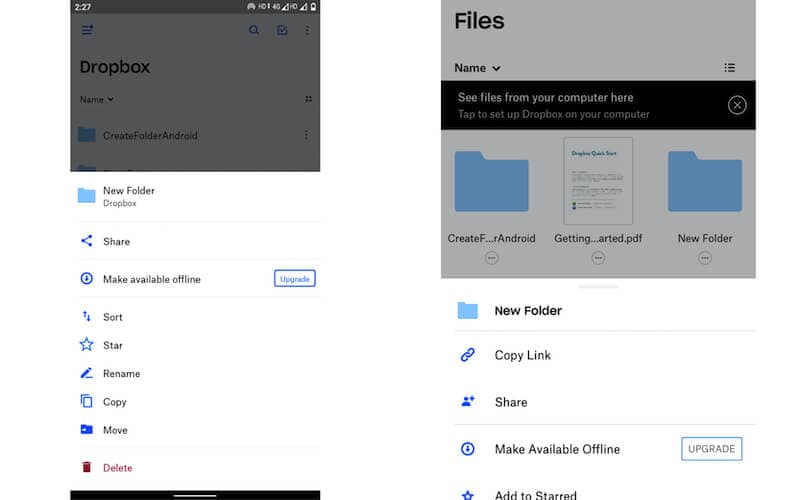 Share option in Dropbox (Android), Share option in Dropbox (iOS)