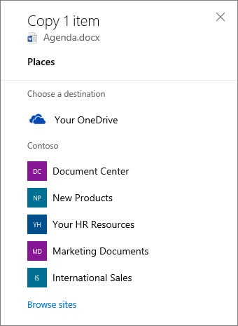 Onedrive to Sharepoint select destination