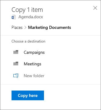 Onedrive to Sharepoint copy here