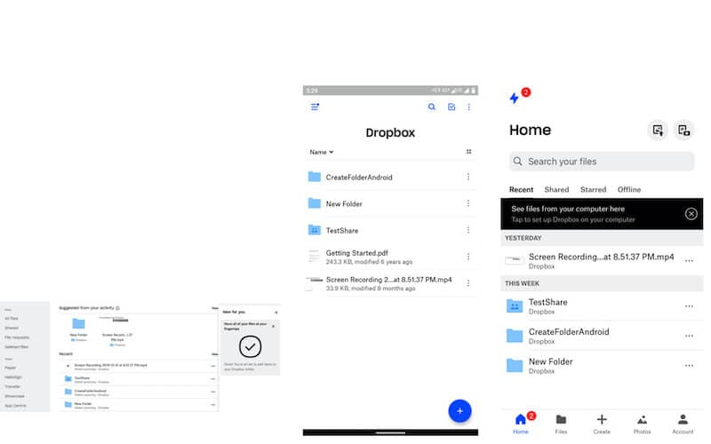 Dropbox in Desktop web browser, Dropbox app in Android, Dropbox app in iOS