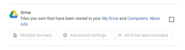 Select Drive and specify preferences in Google Takeout
