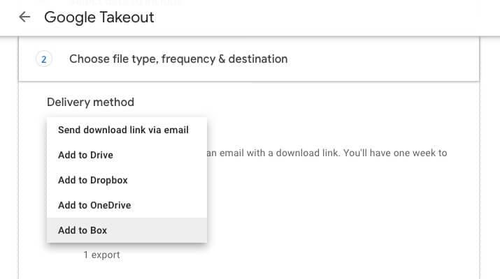 Wählen Sie Box aus der Liste der Ziele in Google Takeout