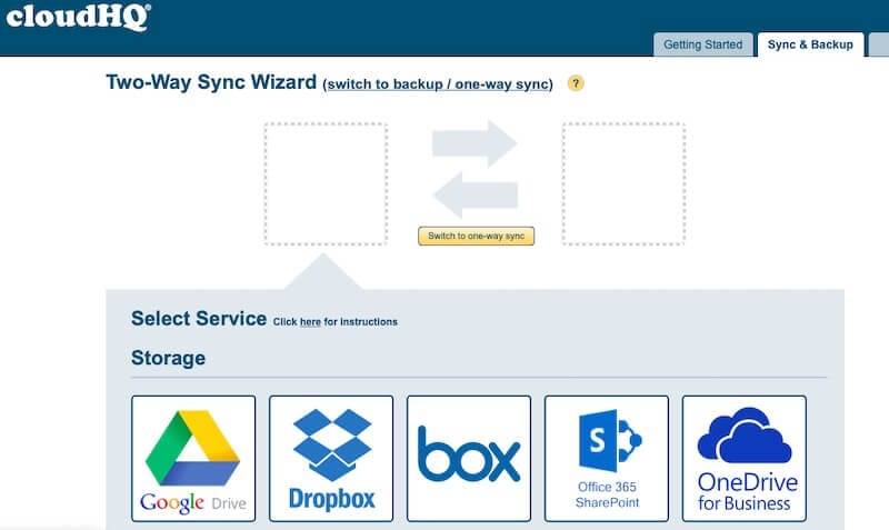 Select Box from list of services in CloudHQ