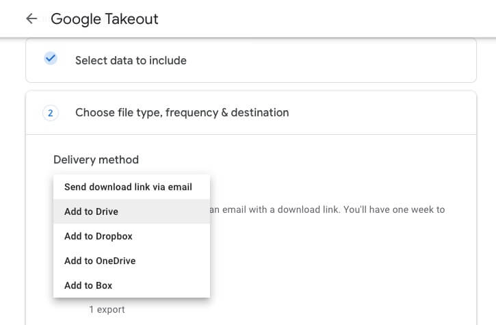 Add to Drive delivery method in Google Takeout
