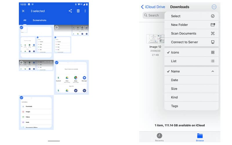 Select multiple files in Google-iOS Files app