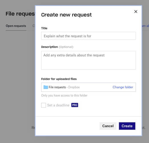 Creating a File Request in Dropbox (website)