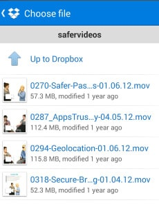 choose the video from dropbox