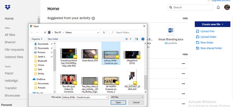 select the video to upload and click open