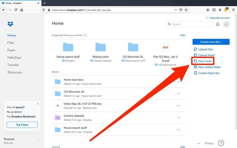 Create a folder in Dropbox
