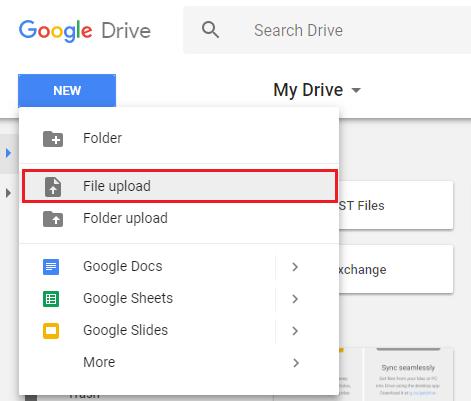Charger les fichiers sur Google Drive