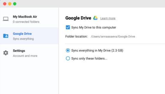 decide on the folders to sync from google drive