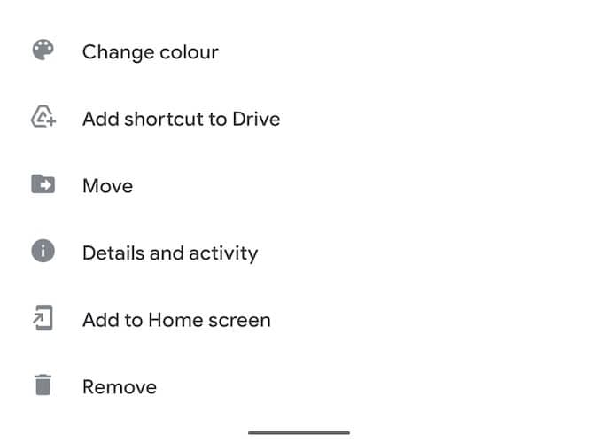 Remove option in Google Drive in Android